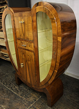 side view of art deco display cabinet