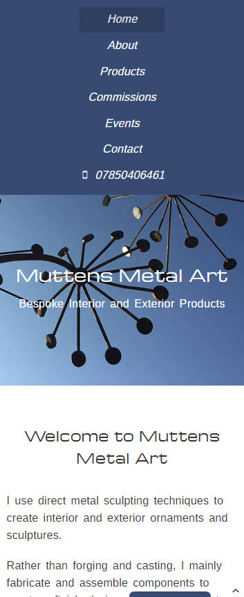 Muttens Metal Art website frontpage on a mobile