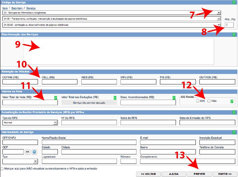 Passos 7, 8, 9, 10, 11, 12 e 13 de como emitir nota fiscal carioca no simples nacional