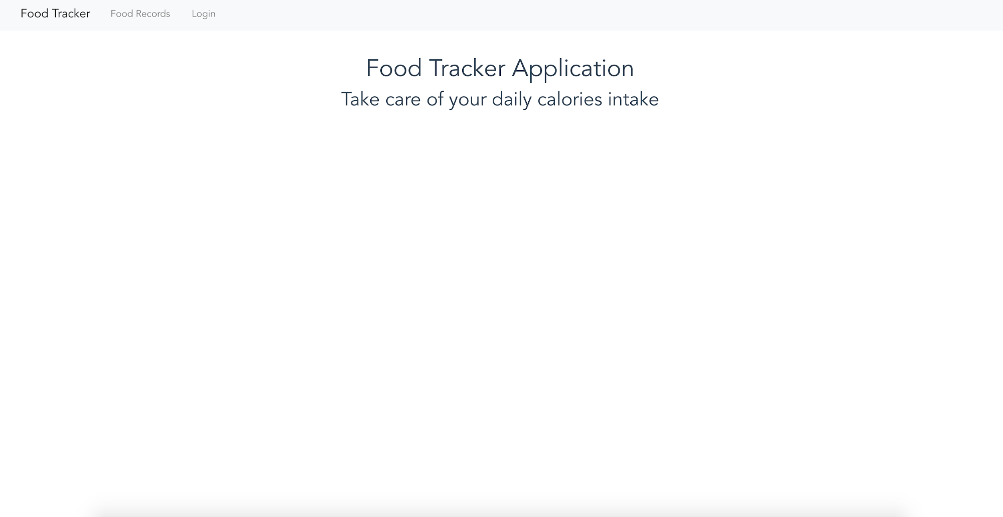 Food tracker homepage
