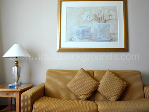 Home Study Virtual Background for Zoom with sofa, lamp and painting