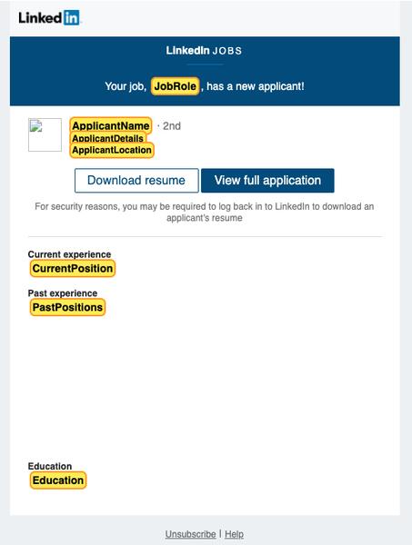 LinkedIn job application template example