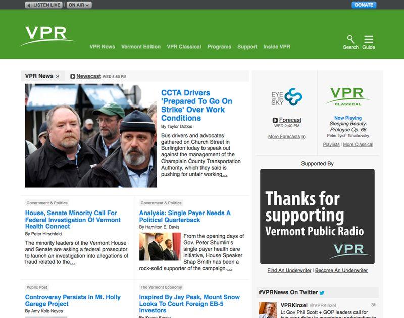 Vermont Public Radio's homepage