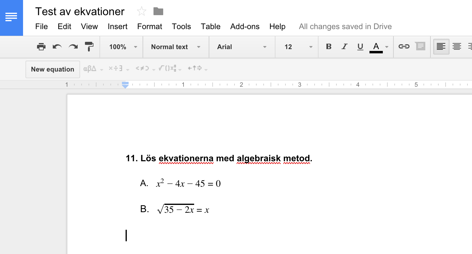 Ekvation i Google Docs