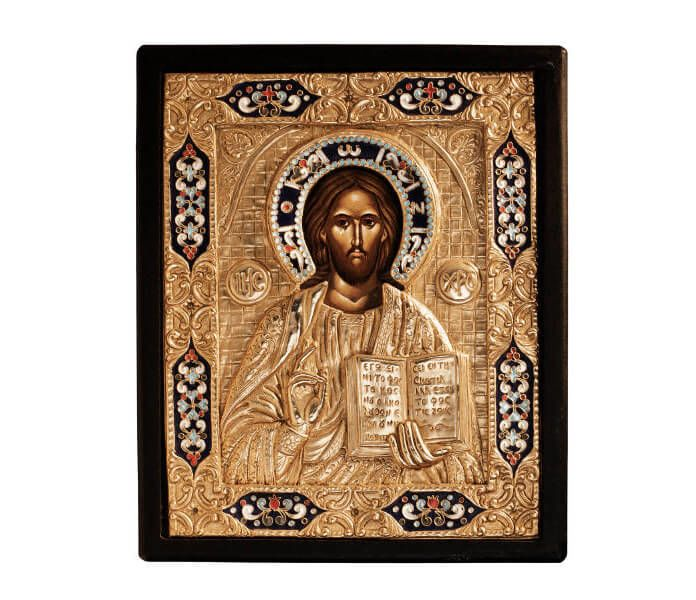 Image of Jesus on an ornate Bible