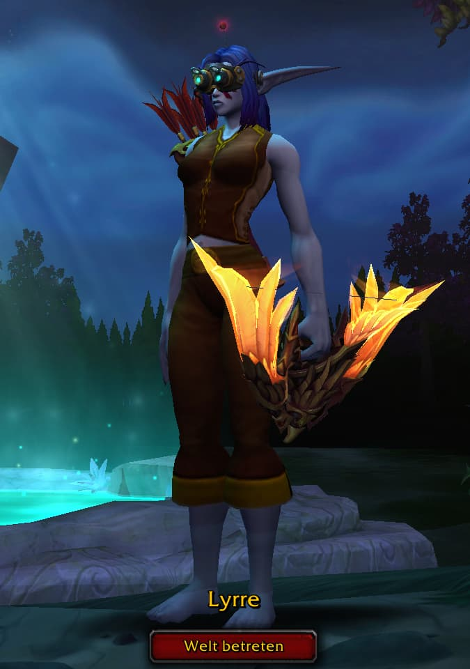 Screenshot of Lyrre the Hunter on the character selection screen