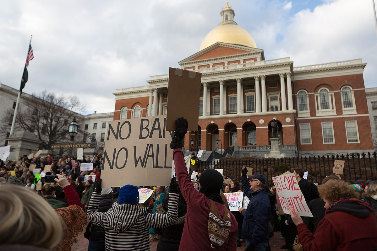 Protesters in front of the Massachusetts State House