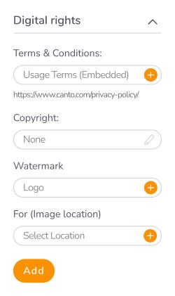 Canto's digital rights dialogue box