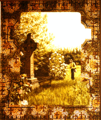 painting of man in a lush graveyard