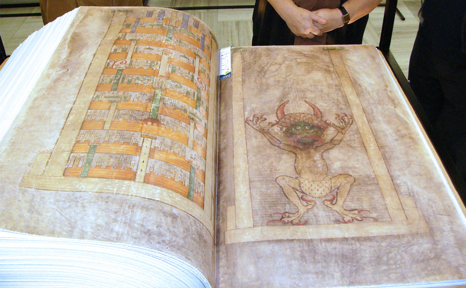 the codex gigas lying open on a table