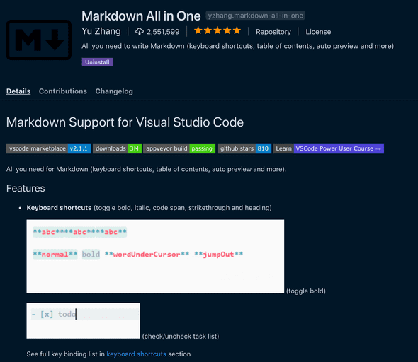 VS Code Markdown All in One extension