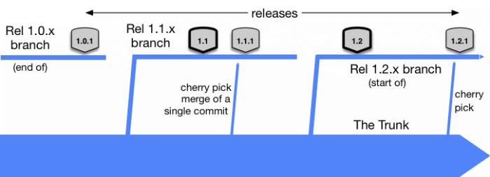 exemple d'un de plusieurs branches de release