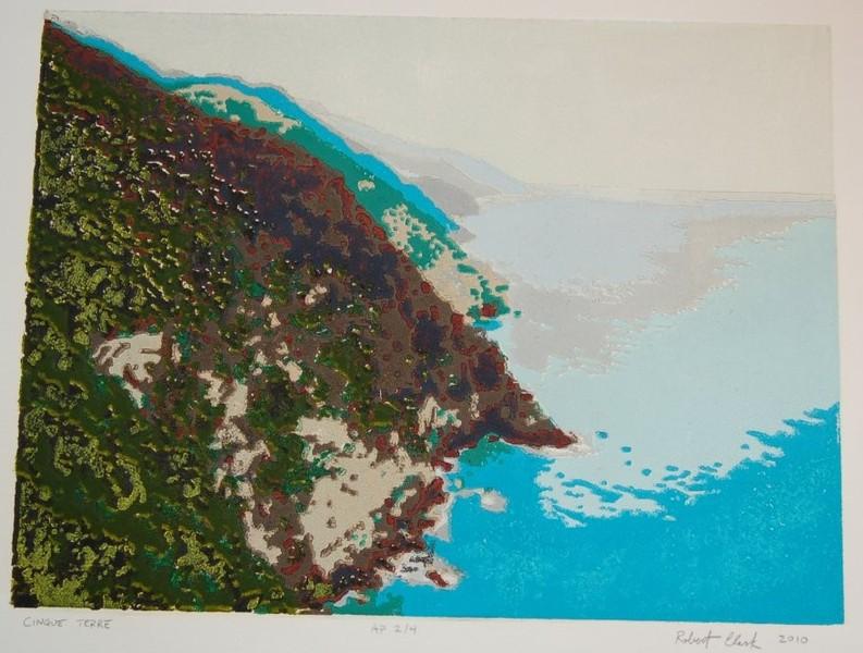 Cinque Terre woodblock print