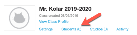"""Screenshot of the entry for a sample class with an arrow pointing to the """"Students"""" link"""