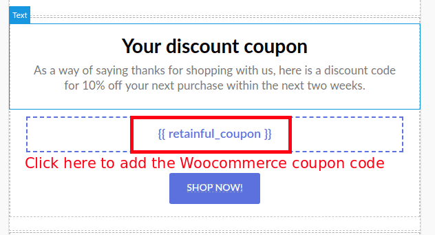 Coupon block on template
