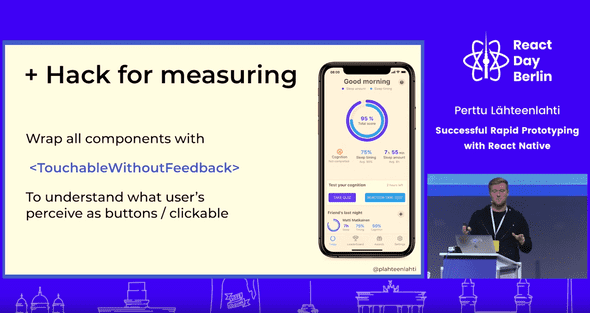Screenshot of the presentation with a analytics hack