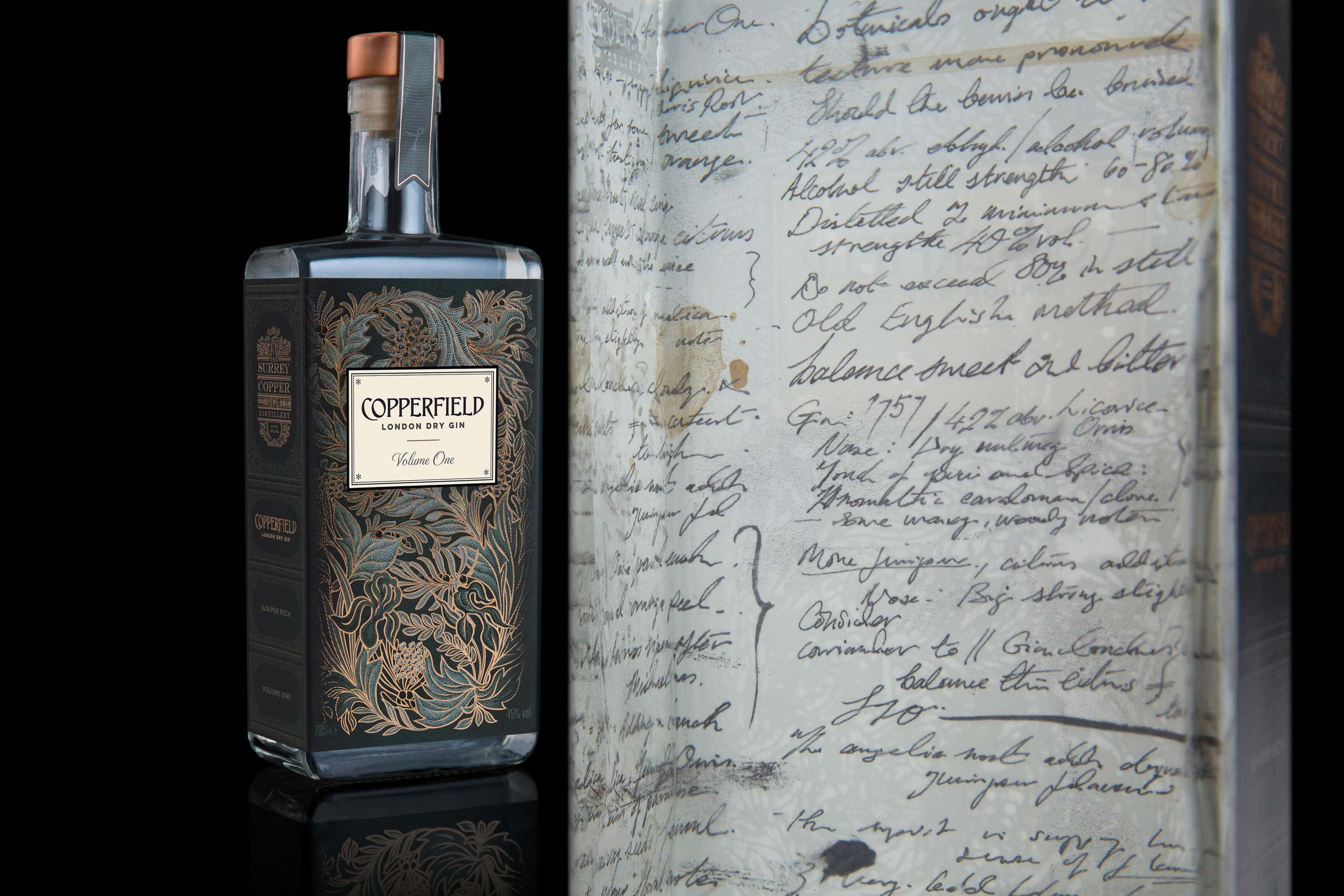 Copperfield sipping gin with notes of distillate on inside label
