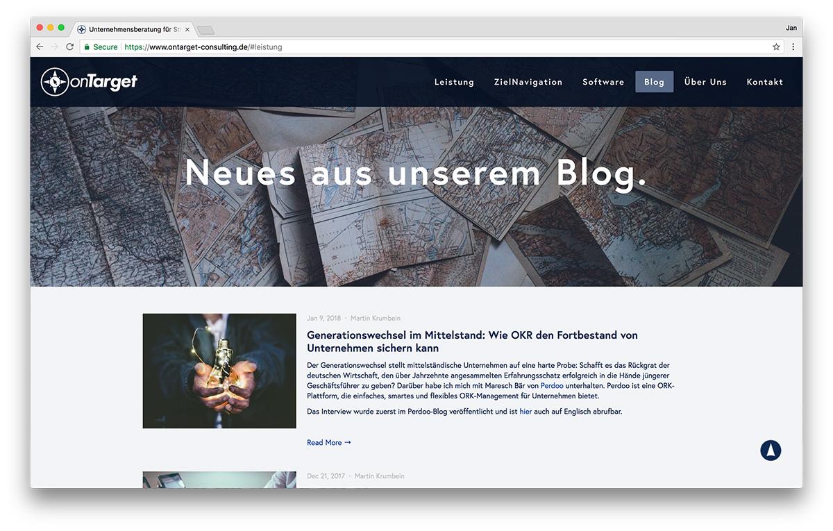 KreativBomber Webdesign Freiburg Projekt onTarget-Consulting - Blog