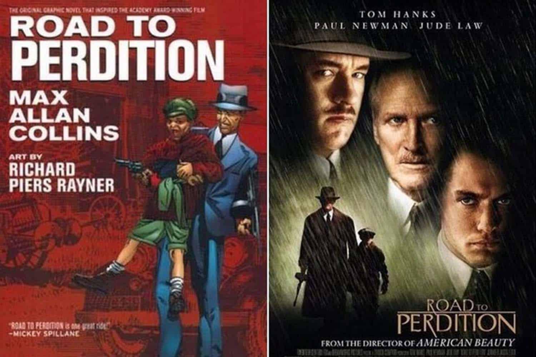 Comparação entre Poster do Filme e Capa da HQ Estrada para Perdição de Max Allan Collins