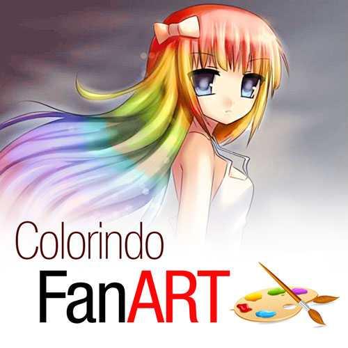 Imagem com o título de colorindo Fan art e uma personagem de anime ao funto