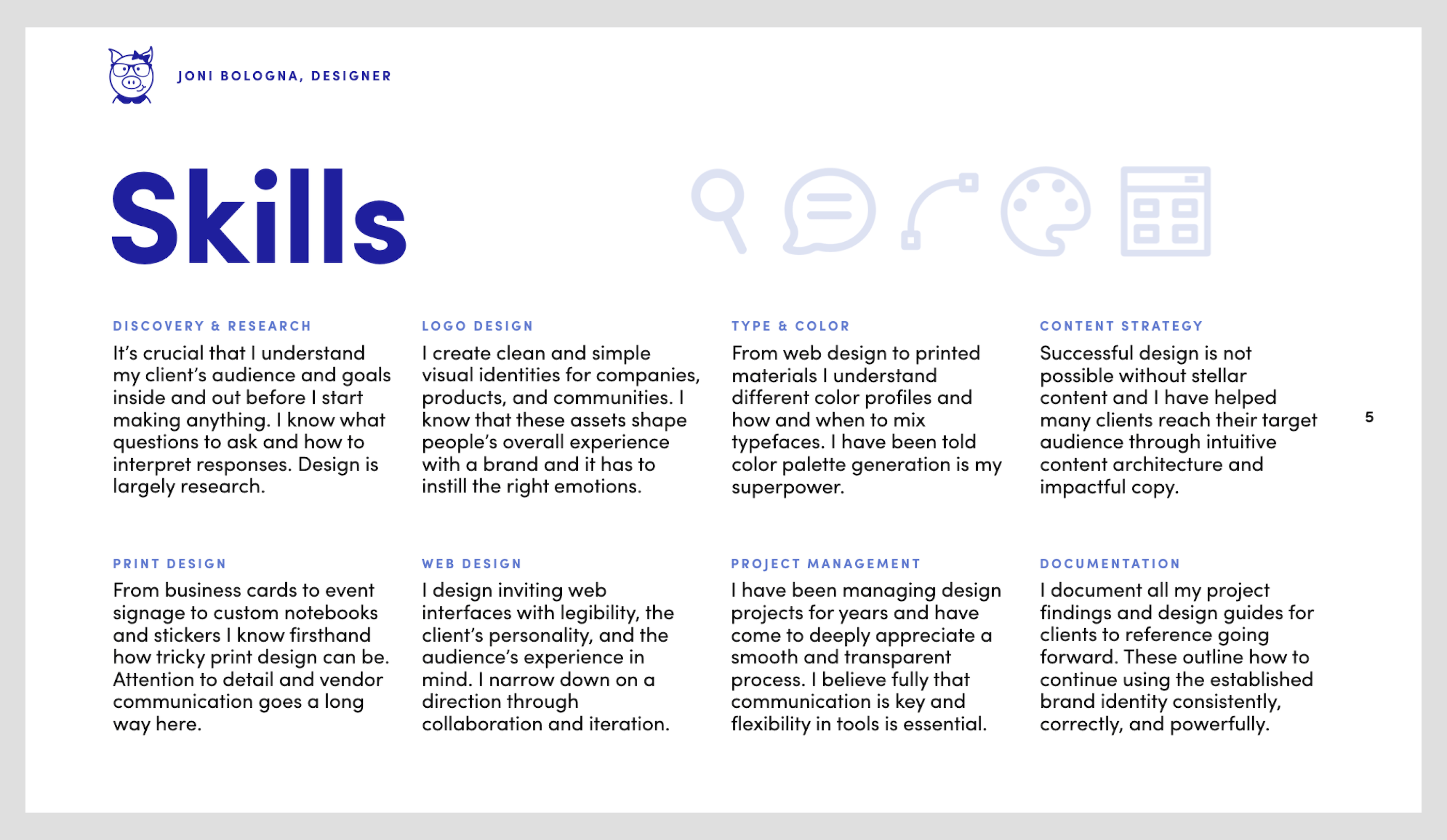 Preview of a list of design skills with brief descriptions, including web design, logo design, color selection, and more