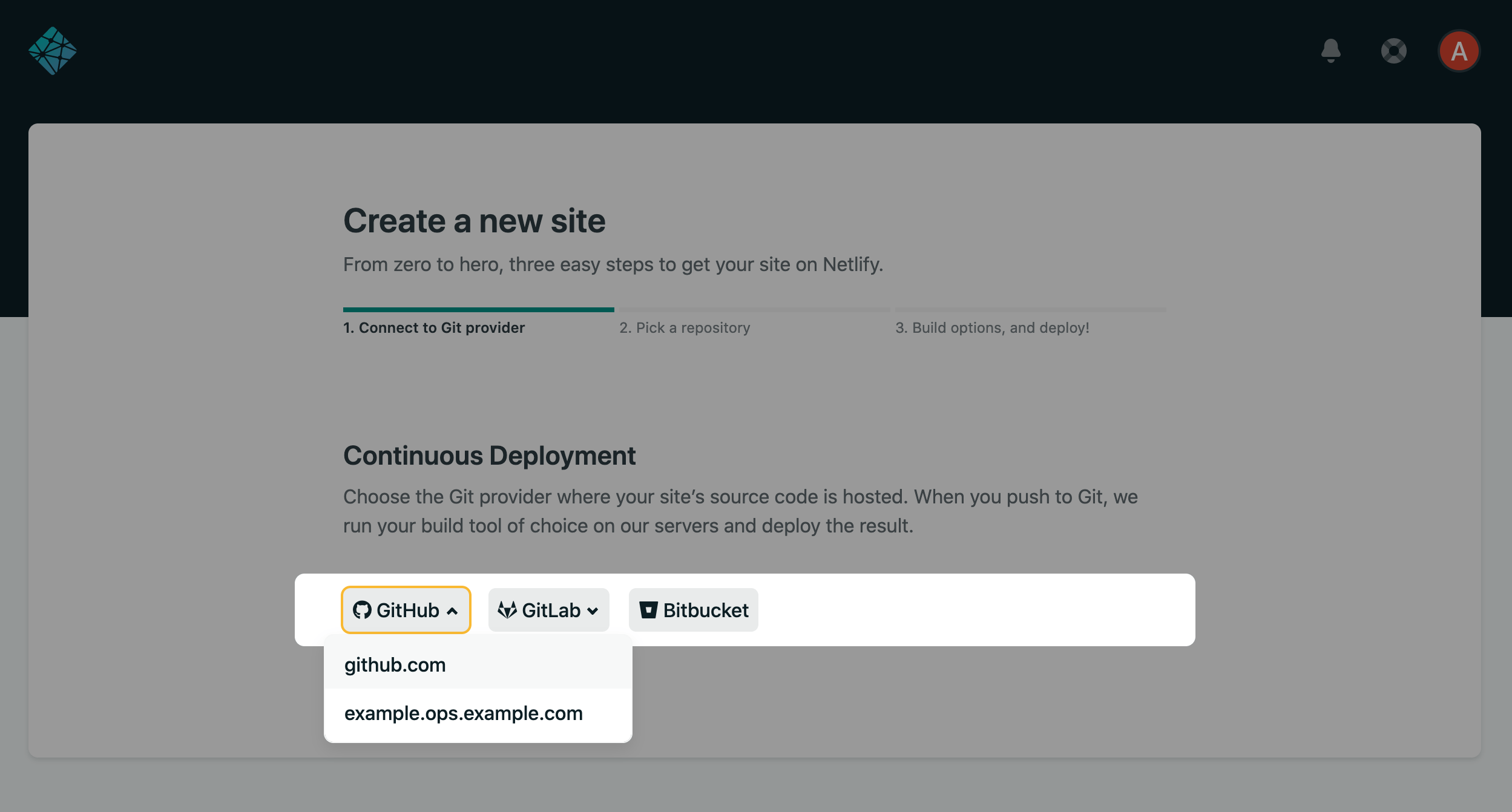 After selecting GitHub when creating a new site for example, you'll be able to choose between GitHub.com or your self-hosted instance