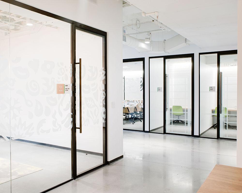 Glass Door near Office Corner