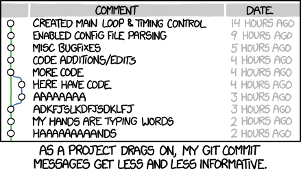 Xkcd about uninformative commit messages