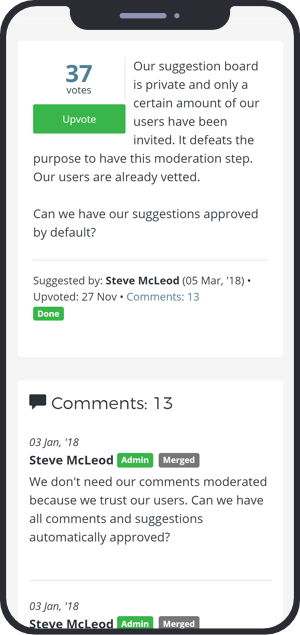 screenshot of a Feature Upvote suggestion with comments