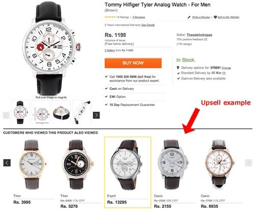 Watches upsell