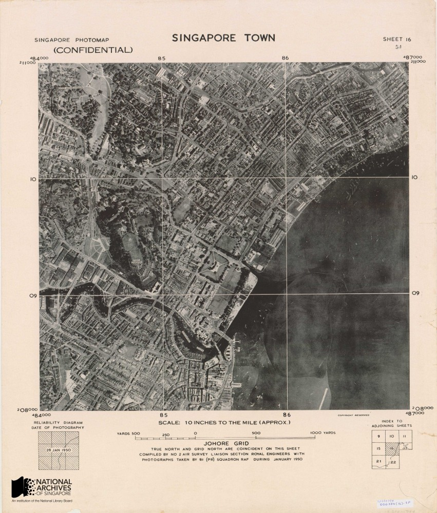 Aerial map of Singapore town, 1950. These maps were made by stitching together aerial photographers taken by the British airforce's 81 squadron, an air reconnaissance unit based at the Seletar and Tengah airbases between 1947 and 1970. Source: Survey Department, Courtesy of National Archives of Singapore Ref: