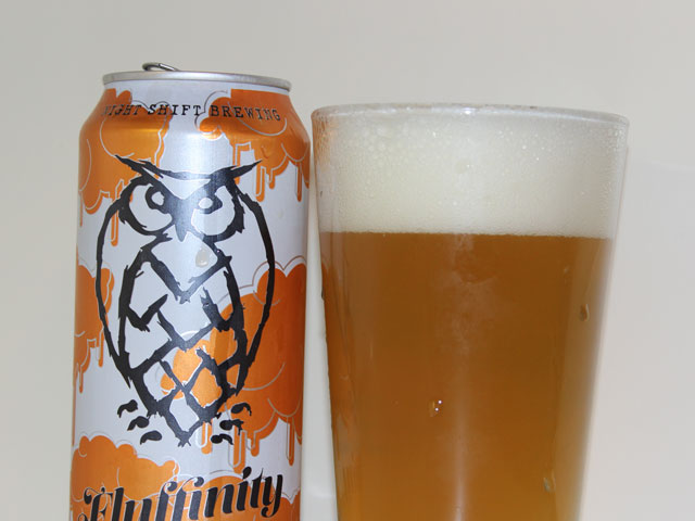 A 16oz can of Fluffinity poured into a pint glass