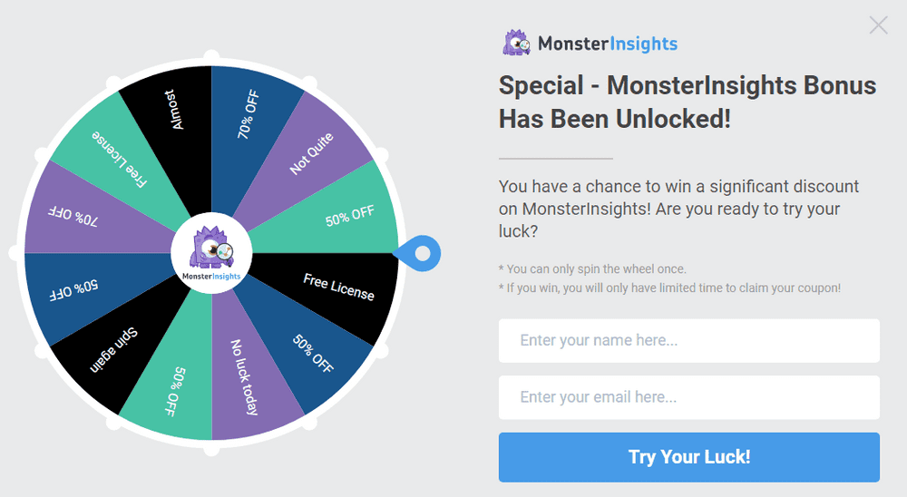 18 exit intent popup with spin wheel example