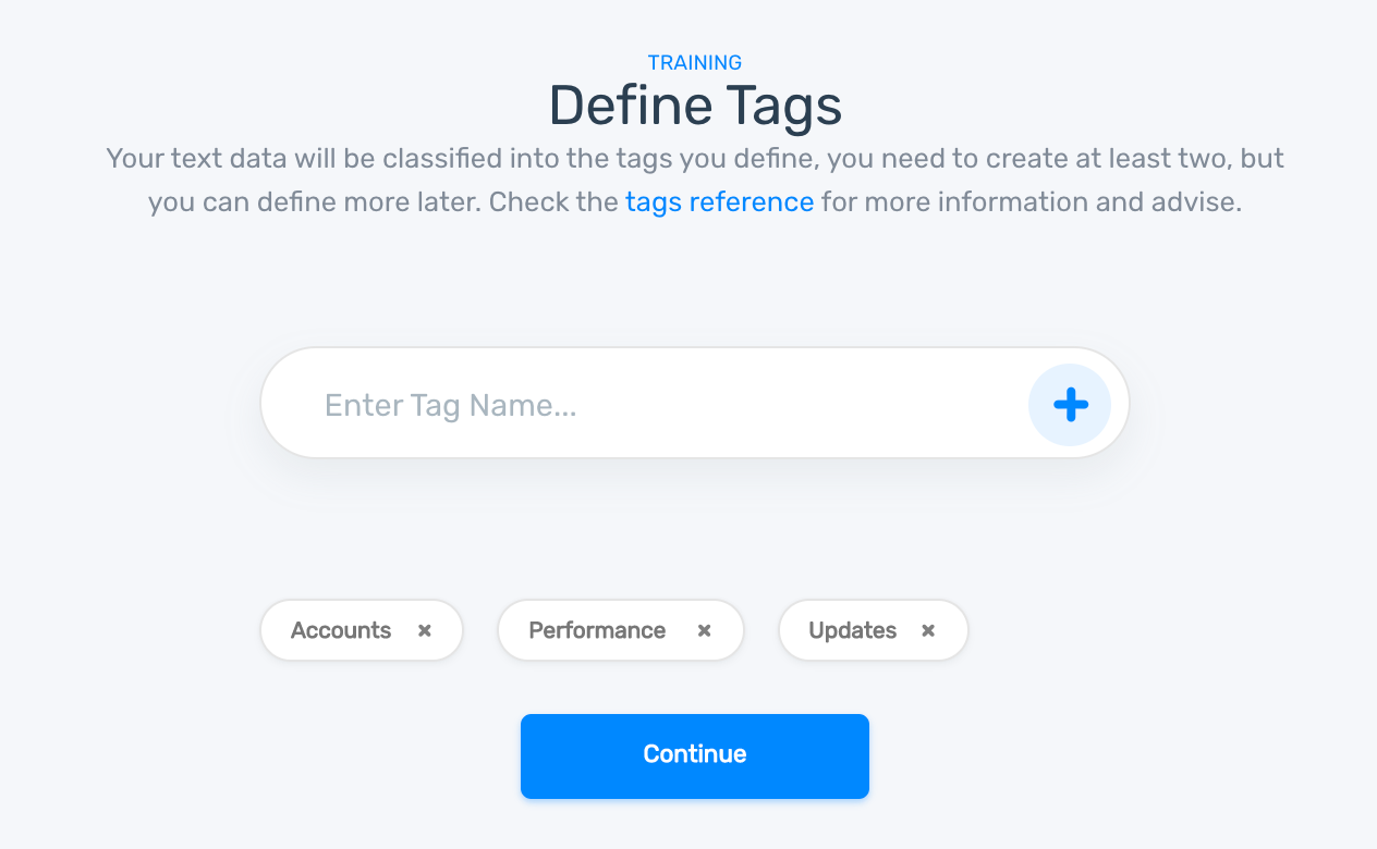 Define tags for your classifier