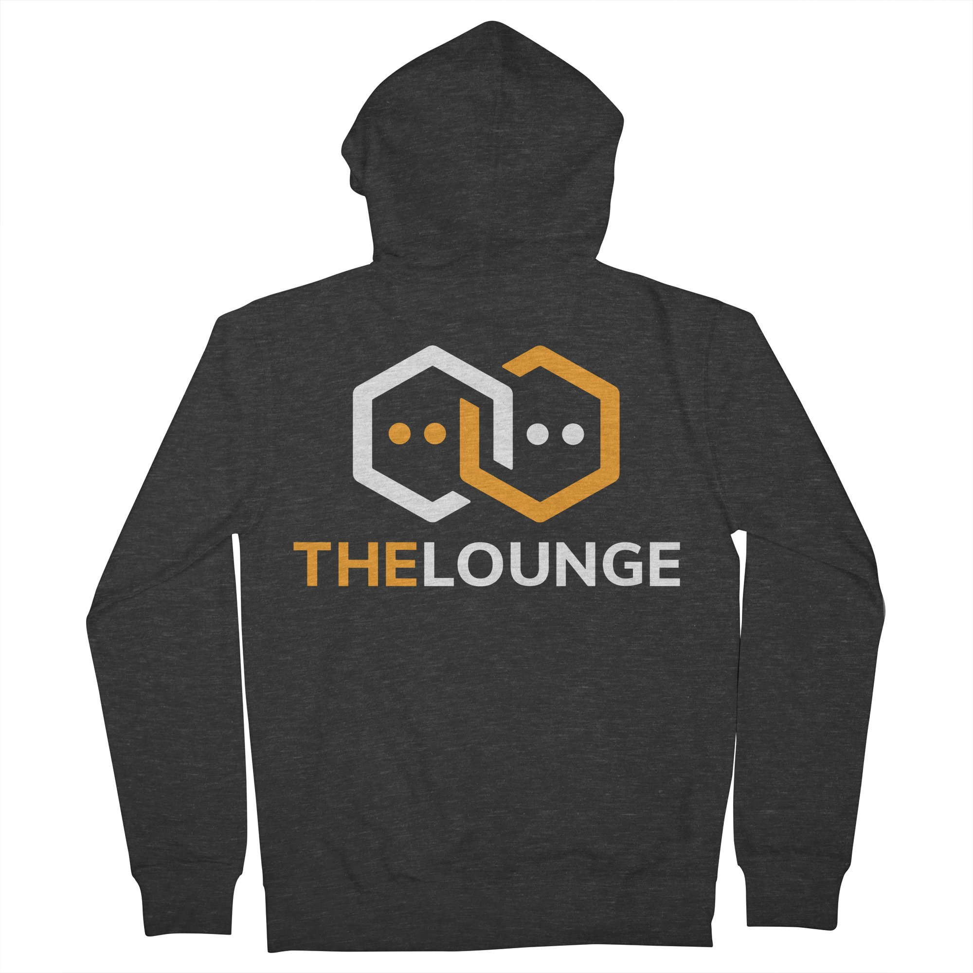 Smoke zip-up hoodie with inverted The Lounge logo