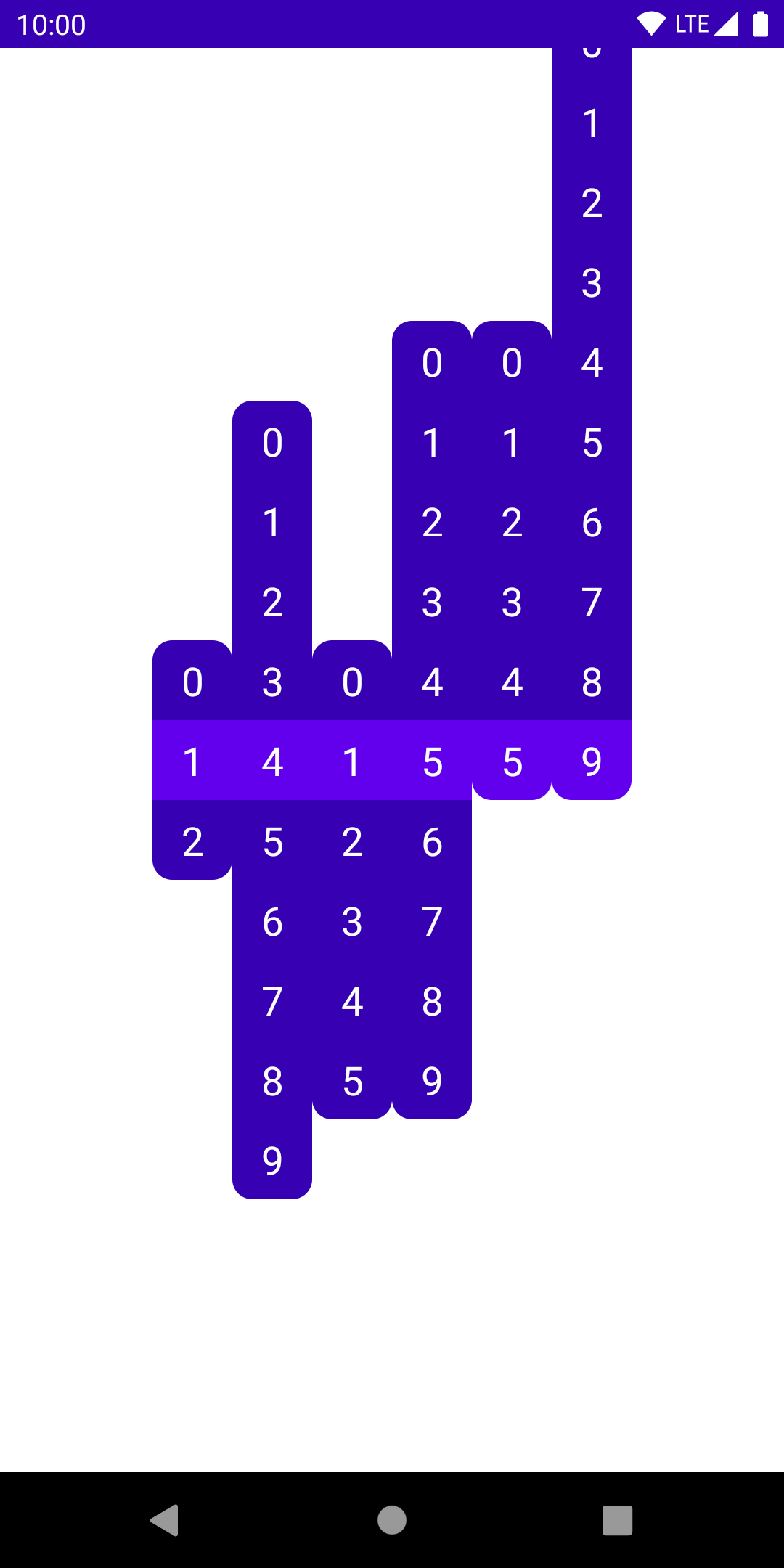 Multiple columns of digits, now aligned at their currently selected item