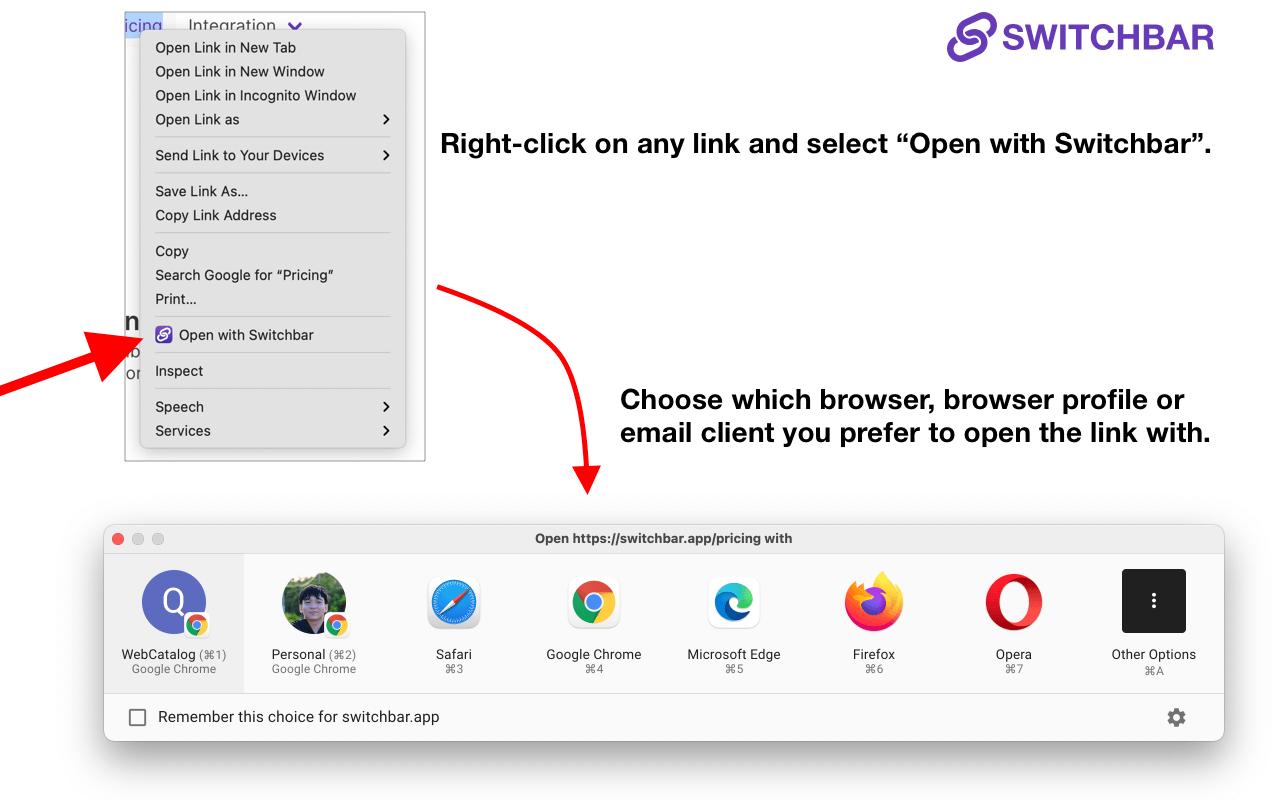 Switchbar browser extensions