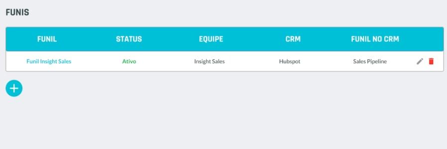 Adicionar funil de vendas Insight Sales