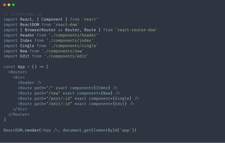 Set up our react js app.js file