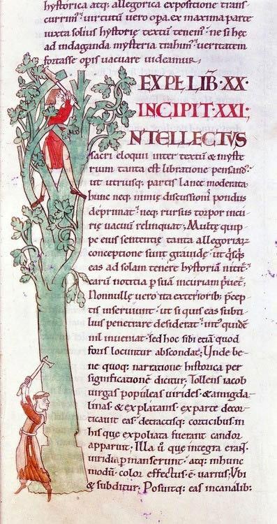 A manuscript from 1111 a.d. showing an illustration of two monks in the margins of a book. One sits in a tree, carving a capital letter 'I' from the branches of the tree whilst the monk below prefers his margins without such frills and attempts to chop the whole thing down.