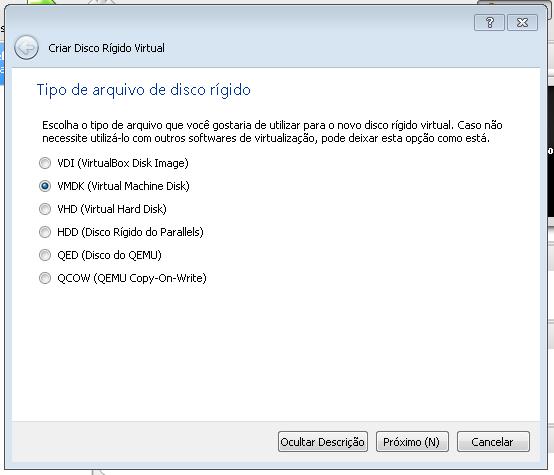 Configurações de disco no VBOX