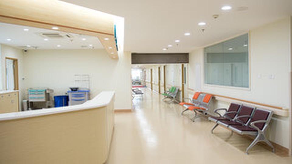 An empty hospital hallway