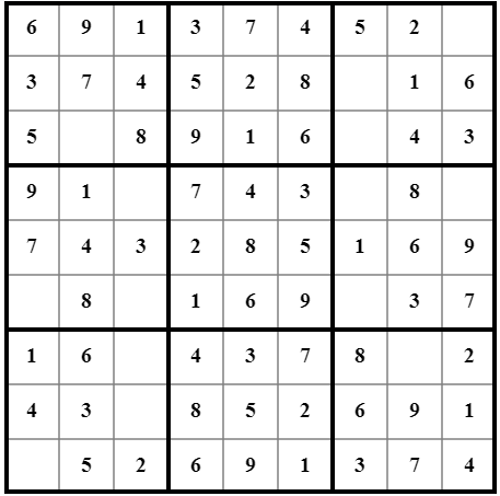 Incomplete Sudoku game