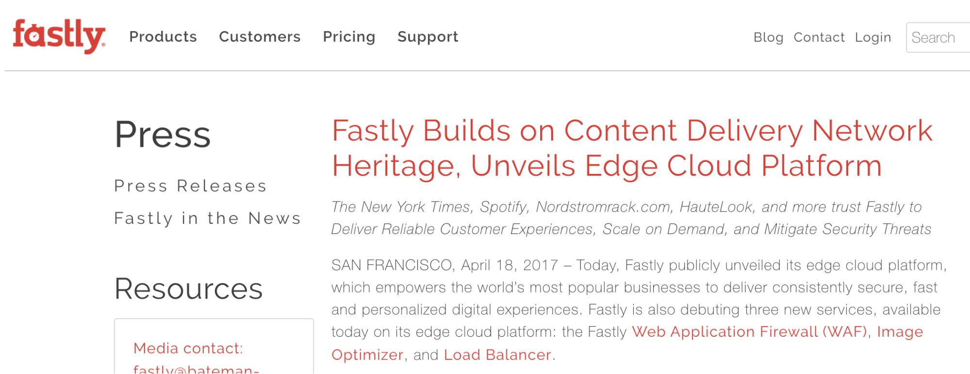 Announcement from Fastly about their Edge Cloud Platform category.