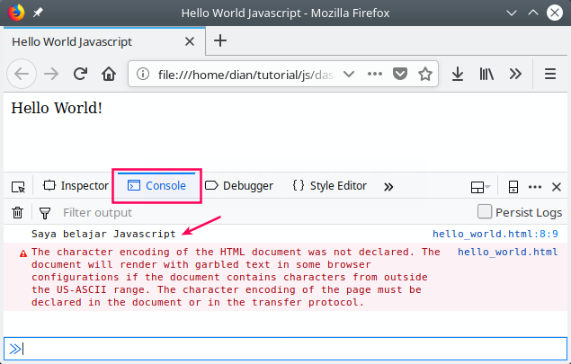 The hello world program in the javascript console