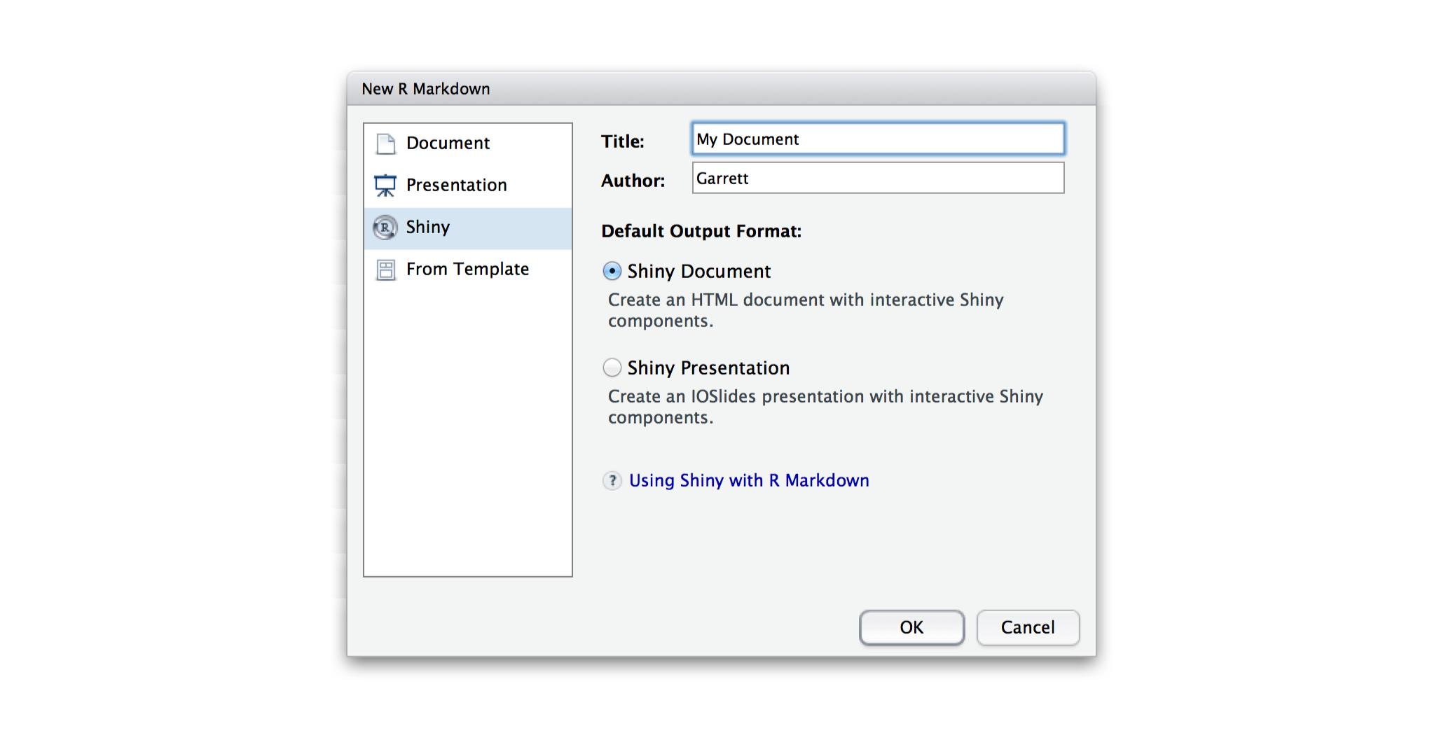 r markdown integration in the rstudio ide, Ioslides Presentation Template, Presentation templates