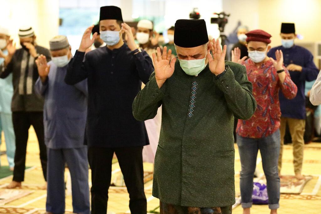 Muslims praying together