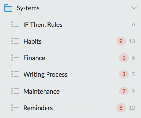 Wunderlist Systems List