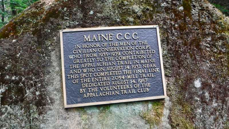 Bronze marker honoring Civilian Conservation Corps workers