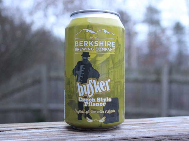 Busker, a Czech Style Pilsner brewed by Berkshire Brewing Company